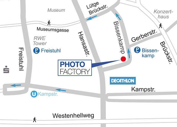 Ausschnitt Anfahrtskarte und Parken PhotFactory Labor & Fotografie Dortmund. Grafik Hackenberg - www.lichtbild.org
